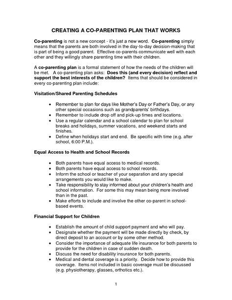 co parenting agreement template great shared parenting plan template ideas entry level