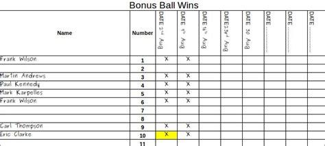 Free Bonus Ball Template Keep Track Of Winners Pdf Bonus Template