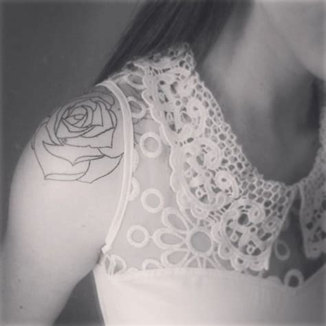 outline shoulder rose tattoo tattoos pinterest