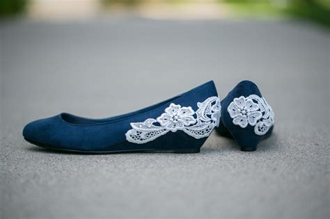 navy blue flat wedding shoes navy blue ballet flat low wedge wedding shoes with ivory