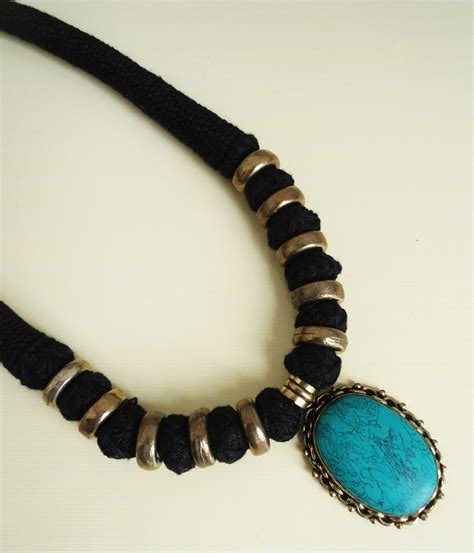 Handmade Thread Jewellery - handmade thread necklace with oxidized turquoise color
