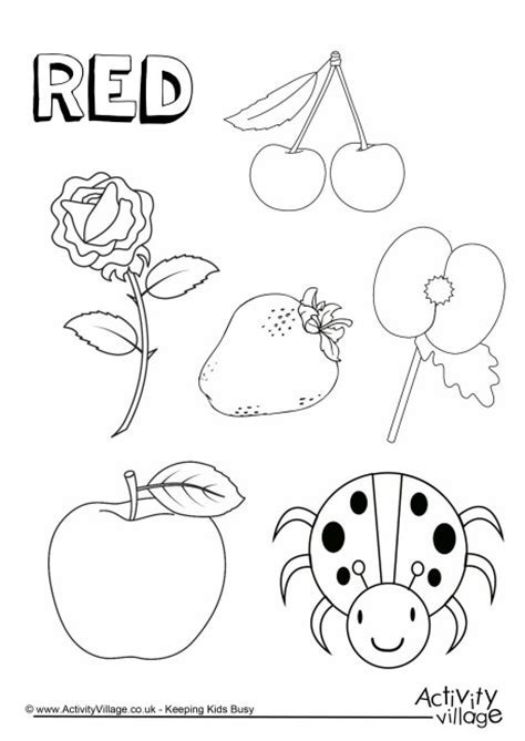 Red Objects Coloring Page Pages