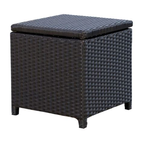 Patio Storage Ottoman Abbyson Living Carlsbad Outdoor Wicker Storage Ottoman In Espresso Dl Rsf004 Brn