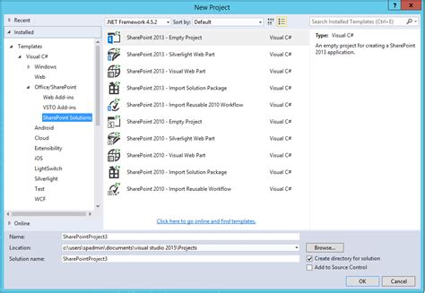 template project missing development project template for sharepoint 2016 is