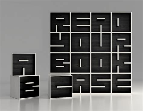 a modular typographical bookcase by saporiti colossal