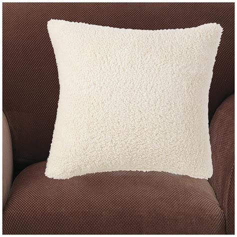 cream couch pillows sure fit 174 reversible sherpa 18 quot throw pillow cream