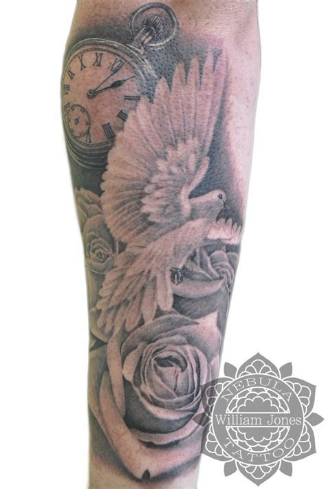 roses and clouds tattoos dove roses and pocketwatch new sleeve