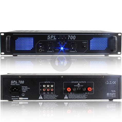 Power Lifier Skytec Spl Series Pa Dj Disco Power Lifier 2x200w 2x500w Ebay