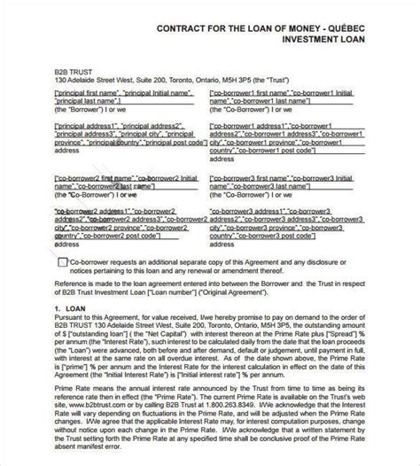lending money contract template free 26 great loan agreement template