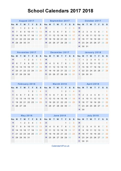 Calendar 2017 Printable Portrait School Calendars 2017 2018 Calendar From August 2017 To