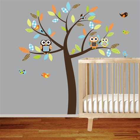 Nursery Room Wall Decals Vinyl Wall Decal Stickers Owl Tree Set Nursery Boy Baby