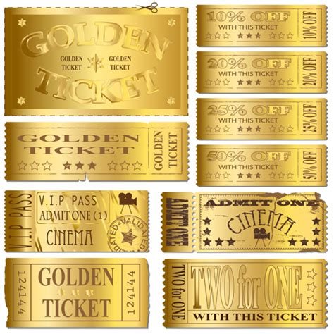 gold ticket template vector gold ticket design elements 01 millions