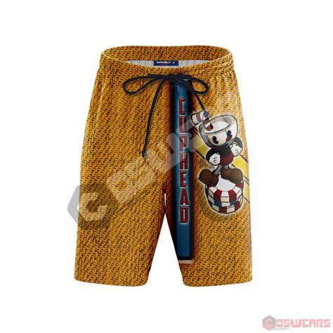 cuphead cupheads chips inspired beach shorts coswears
