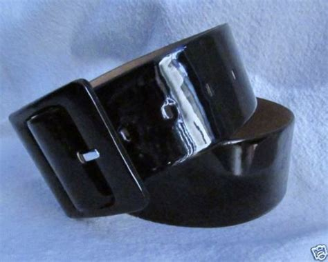 wide black patent leather belt womens m