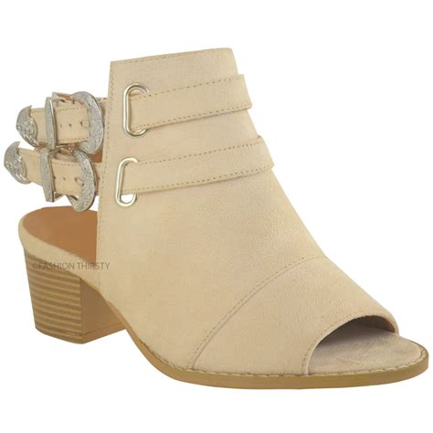 womens western cowboy sandals ankle boots chunky
