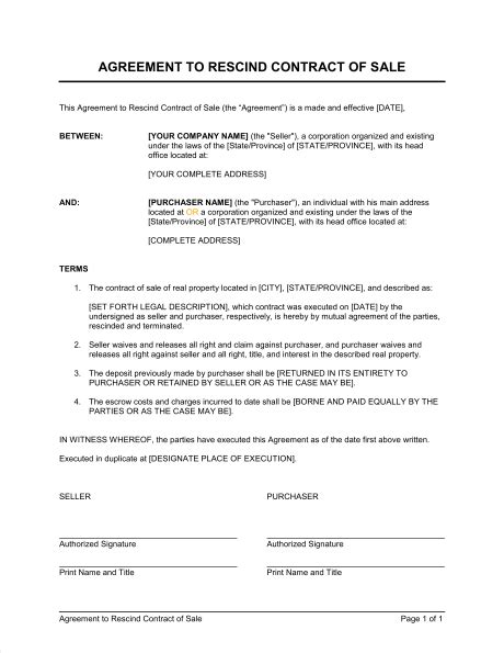 Contract Rescission Letter Sle Agreement To Rescind Contract Of Sale Template Sle Form Biztree