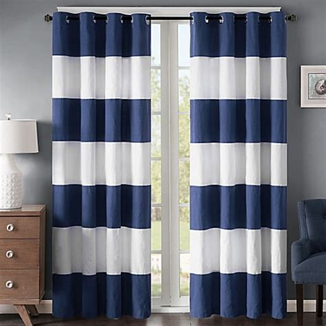 White And Navy Striped Curtains Buy Regency Heights Stripe 63 Inch Grommet Window Curtain Panel In Navy White From Bed