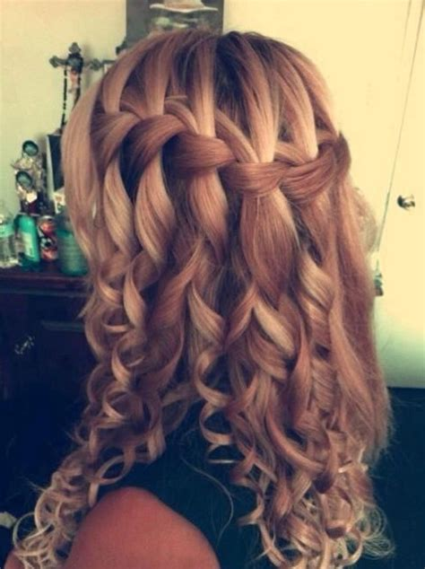 braid hairstyles for long curly hair waterfall braid hairstyles weekly