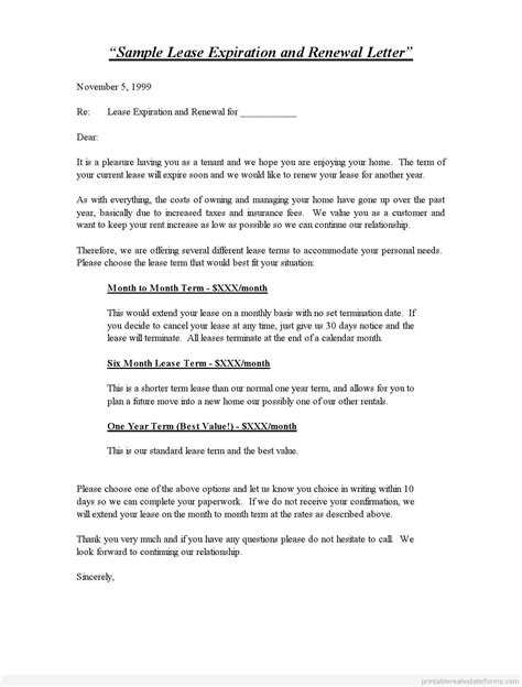 Letter Extending Lease Printable Sle Lease Expiration And Renewal Letter Template 2015 Sle Forms 2015