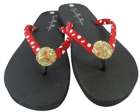 customize your own sandals design your own softball rhinestone bling flip flops