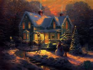 snowy landscape and cottage wallpaper forwallpaper