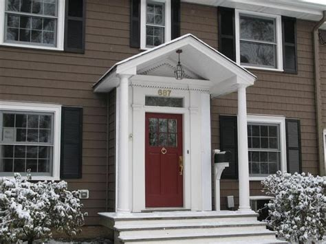 front door colors for brown house brown siding with red accent door house pinterest vinyls dark brown and window
