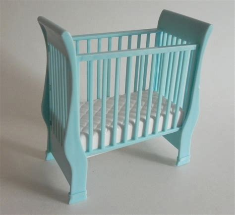 Barbie Baby Crib Blue And White Sleigh Bed 1990s Vintage Sleigh Bed Baby Crib