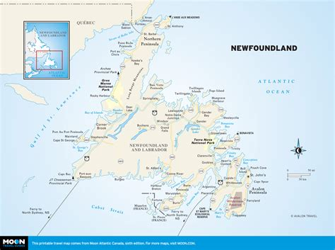 newfoundland map canada travel guide moon travel guides