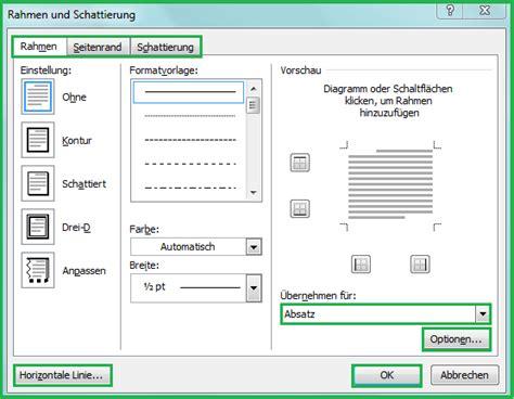Word Vorlage Textfeld Rahmen Seitenrand Linien Und Schattierungen In Word Dokument Einf 252 Office Lernen
