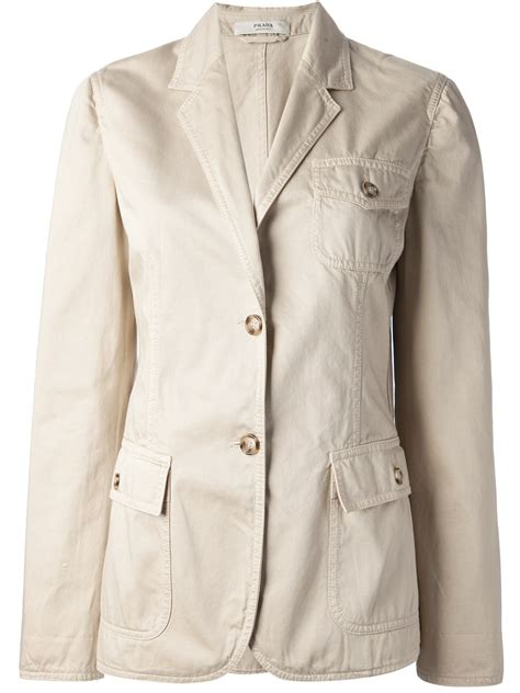 prada safari style jacket in beige neutrals lyst