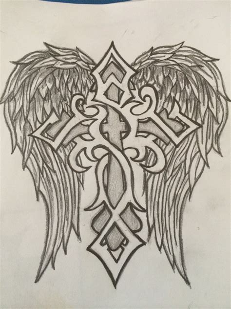 cross and wing tattoo designs drew this for my boyfriend to welcome him home he loved