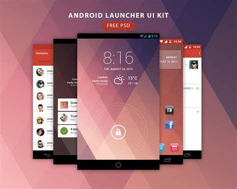 free android ui templates free android launcher ui kit free psd at