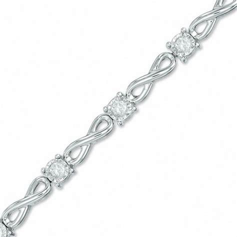 1 2 ct t w infinity link bracelet in 10k white