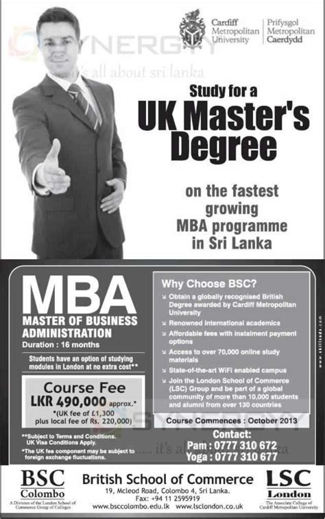 Cardiff Fees For Mba by Cardiff Metropolitan Mba In Sri Lanka 171 Synergyy