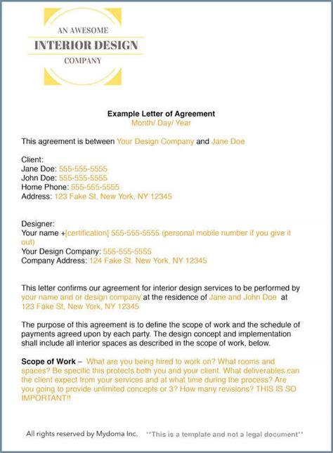 write  interior design letter  agreement