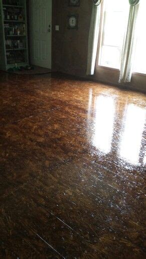 OSB stained floor with floor polyurethane   My home