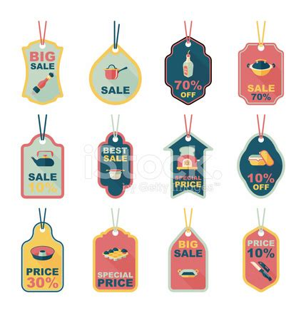 kitchenware tag flat banner background set, eps10 stock