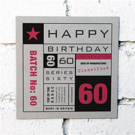 60th Birthday Card Greetings 60th Birthday Card By Coulson Macleod Notonthehighstreet Com