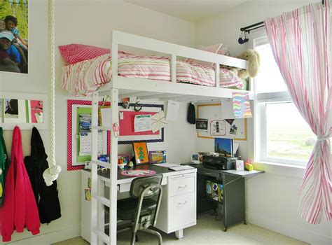 girls room that have a office up stairs loft bed with desk underneath kids contemporary with bunk