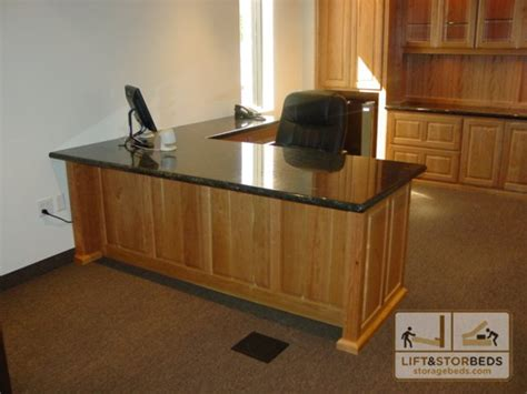 Custom Home Office Desk with Custom Office Furniture And Entertainment Centers Lift Stor Beds