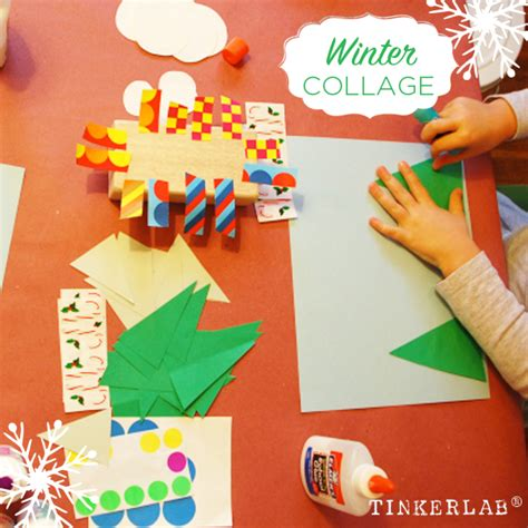 collage crafts for winter craft collage invitation tinkerlab