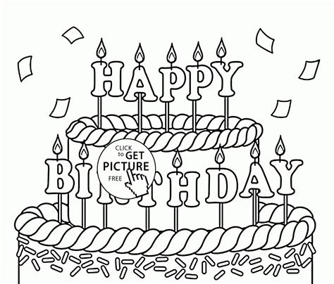 happy birthday coloring pages for kids big cake happy