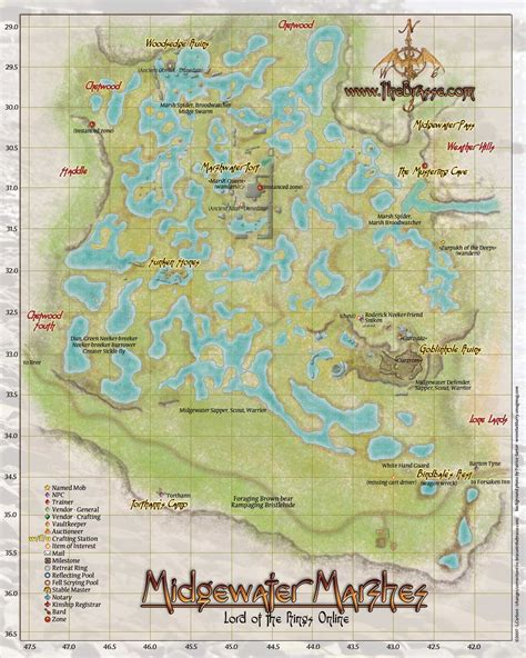 lotro old forest map lotro map bree land midgewater marshes