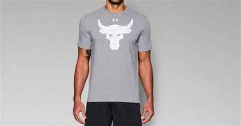 T Shirt Armour Project Rock Edition Kode Tsua Iron Carbon Heathe s ua x project rock brahma bull t shirt armour us