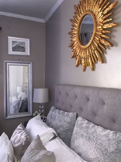 grey gold bedroom grey and gold bedroom decoration decor headboard sunburst