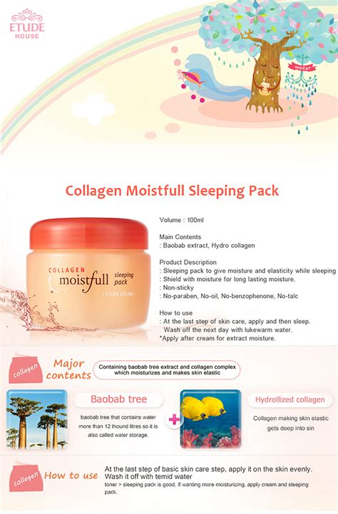 Etude House Moistfull Collagen Sleeping Pack 100 Ml etude house collagen moistfull sleeping pack 100ml