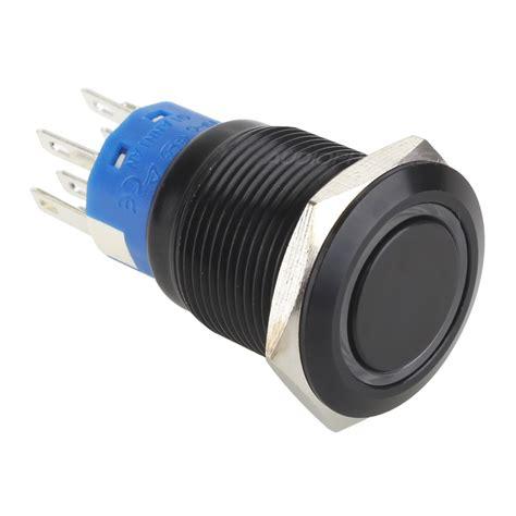 bouton poussoir aluminium noir cercle bleu 250v 5a 216
