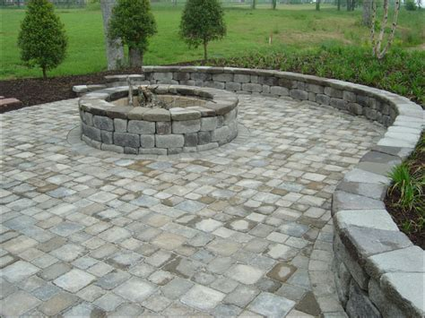 pit made out of pavers outdoor pit made from keystone country manor units