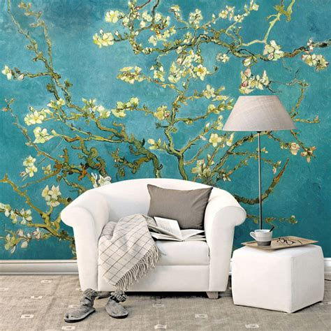 wallpaper for bedroom wall tree wall murals for homes aliexpress com buy van gogh the apricot blossom tree art