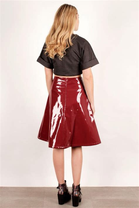 oxblood patent a line pvc midi skirt as seen in